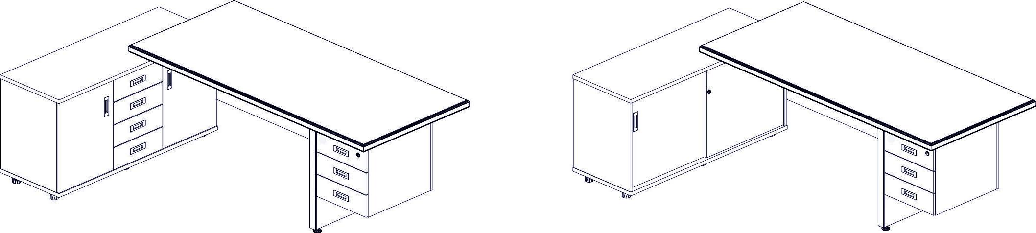 стол руководителя с опорной тумбой с ящиками и распашными дверьми